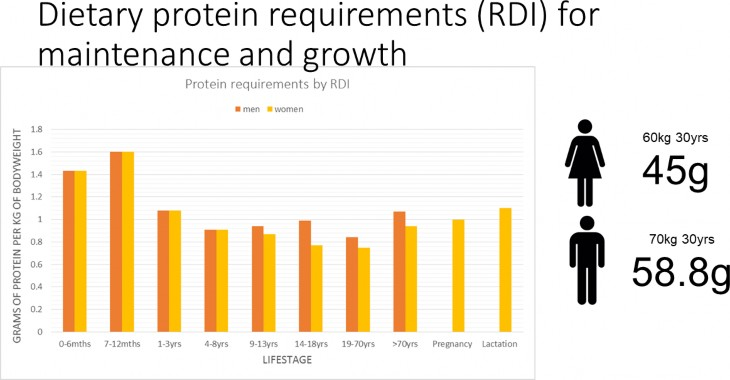Dietary protein requirements (RDI) for maintenance and growth.